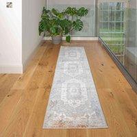 Soft Low Pile Grey Rustic Blue Oriental Hall Runner Rug | Jupiter