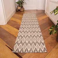 Grey Stripe Woven Sustainable Runner Recycled Cotton Rug   Kendall