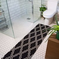 Black Trellis Woven Sustainable Recycled Cotton Runner Rug   Kendall
