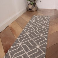 Grey Geometric Woven Sustainable Recycled Cotton Runner Rug   Kendall