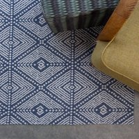 Blue Diamond Woven Sustainable Recycled Cotton Runner Rug   Kendall