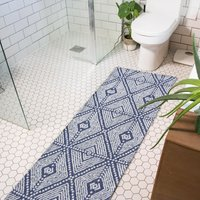 Blue Diamond Woven Recycled Cotton Runner Rug - Kendall