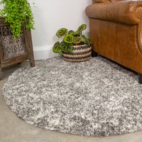 Silver Shaggy Round Circle Rug for Living Room | Murano