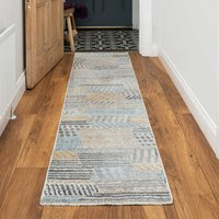 Soft Yellow Tribal Abstract Distressed Hall Runner Rug   Mystic