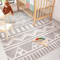 Grey Tribal Soft Kids Bedroom Rugs | Nino
