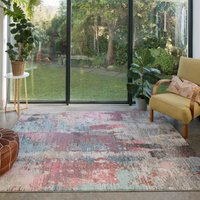 Soft Abstract Distressed Pink Hall Runner Rug   Osbourne