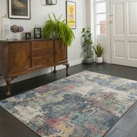 Soft Abstract Distressed Multicolour Hall Runner Rug   Osbourne