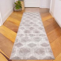 Chic Geometric Grey Living Room Runner Rug   Oscar