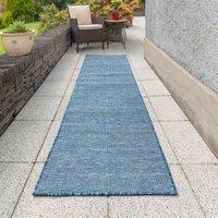 Navy Blue Mottled Indoor Outdoor Garden BBQ Area Runner Rug | Patio