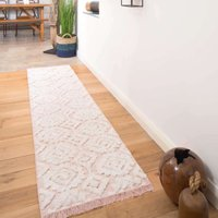 Tufted Blush Pink Moroccan Sustainable Runner Rug   Poppy
