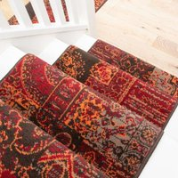 Red Patchwork Stair Carpet Runner - Cut to Measure