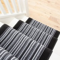 Black White Stripey Stair Carpet Runner - Cut to Measure | Scala
