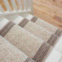 Cream Bordered Stair Carpet Runner - Cut to Measure| Scala