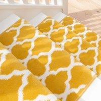 Yellow Trellis Stair Carpet Runner - Cut to Measure