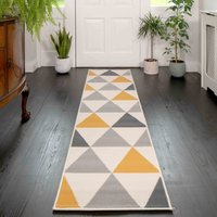 Yellow Grey Geometric Triangle Hall Runner Rug | Milan