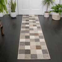 Soft Moroccan Block Squares Natural Beige Hall Runner Rugs   Westland