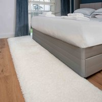 Deluxe Thick Soft Cream Shaggy Hall Runner Rug   Whistler