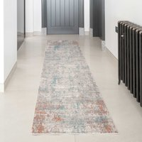 Blue Terracotta Abstract Canvas Runner Rug | William