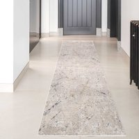 Modern Silver Abstract Hall Runner Rug | William
