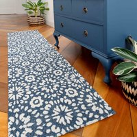 Floral Geometric Blue Woven Sustainable Recycled Cotton Runner Rug   Kendall