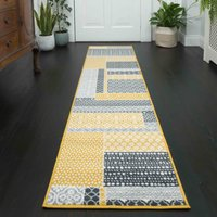 Yellow Grey Patchwork Hallway Runner Rug   Milan