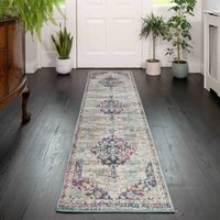 Faded Distressed Colourful Oriental Pattern Runner  Rug - Oscar