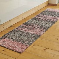 Blush Distressed Textured Shaggy Runner Rug   Florence