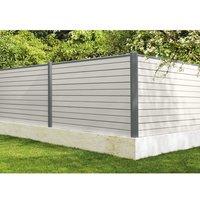 Poteau gris 7037 avec accessoires pour clôture composite 63.5