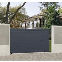 Portail coulissant aluminium motorisé ALPES gris a/accessoires H.170 x l.325