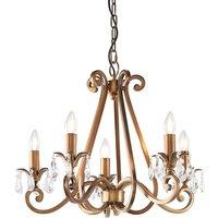 Interiors 1900 UL1P5B Oksana Antique Brass 5 Light Ceiling Pendant Light   Fitting Only