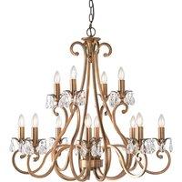 Interiors 1900 UL1P12B Oksana Antique Brass 12 Light Ceiling Pendant Light   Fitting Only