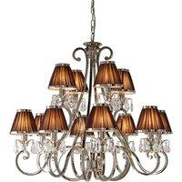 Interiors 1900 63509 Oksana Nickel 12 Light Ceiling Pendant Light In Nickel With Chocolate Brown Shades