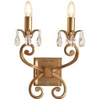 Interiors 1900 UL1W2B Oksana Antique Brass Twin Wall Light   Fitting Only