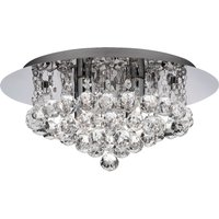 Parma Modern Crystal Flush Ceiling Light in Chrome with Round Droplets