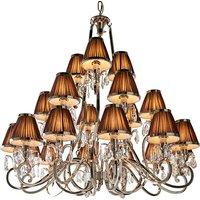 Interiors 1900 63510 Oksana Nickel 21 Light Ceiling Pendant Light In Nickel With Chocolate Brown Shades