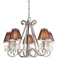 Interiors 1900 63511 Oksana Nickel 5 Light Ceiling Pendant Light In Nickel With Chocolate Brown Shades