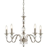 Interiors 1900 LX124P5N Polina Nickel 5 Light Ceiling Pendant In Polished Nickel   Fitting Only