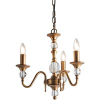 Interiors 1900 LX124P3B Polina Antiique Brass 3 Light Ceiling Pendant Light In Brass   Fitting Only