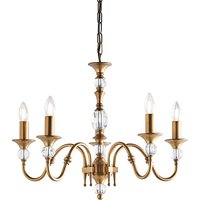 Interiors 1900 LX124P5B Polina Antique Brass 5 Light Ceiling Pendant Light In Brass   Fitting Only