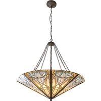 Interiors 1900 64053 Dauphine Tiffany Mega Panel 8 Light Inverted Ceiling Pendant In Bronze