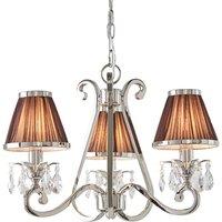 Interiors 1900 63513 Oksana Nickel 3 Light Ceiling Pendant Light In Nickel With Chocolate Shades