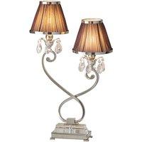 Interiors 1900 63527 Oksana Nickel Twin Table Lamp In Nickel With Chocolate Brown Shades