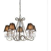 Interiors 1900 63506 Oksana Nickel 5 Light Ceiling Light In Nickel With Black Shades