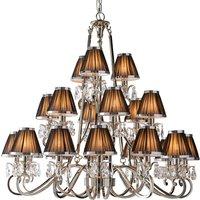 Interiors 1900 63508 Oksana Nickel 21 Light Ceiling Pendant Light in Nickel With Black Shades