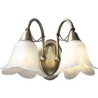 Dar DOU0975 Doublet Antique Brass 2 Light Wall Bracket
