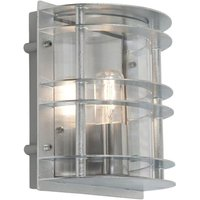 Norlys ST FLU E27 GAL C Stockholm 1 Light Flush Wall Light   Galvanised   With Clear Glass