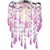 Easy Fit 1 Light CeilingPendant Lamp Shade In Purple   Clear Glass