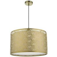 Dar TIN6535 Tino Easy Fit Ceiling Pendant In Gold And Ivory Cotton Drum