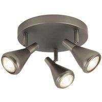 Searchlight 7243 3AS Tinley 3 Light Round Flush Ceiling Spotlight In Matt Antique Silver