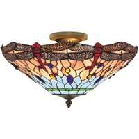 Searchlight 1289-16 Dragonfly Tiffany Ceiling Uplighter In Antique Brass
